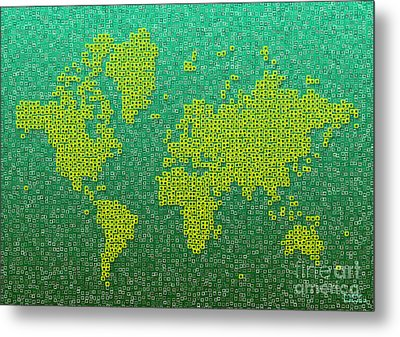 World Map Kotak In Green And Yellow Metal Print by Eleven Corners