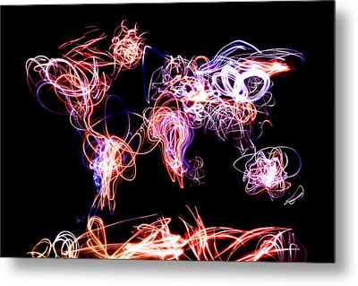 World Map Light Writing Metal Print by Michael Tompsett