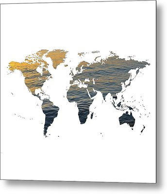 World Map - Ocean Texture Metal Print