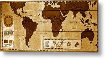 World Map Of Coffee Metal Print by David Lee Thompson