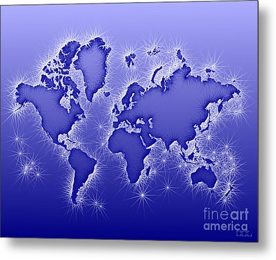 World Map Opala In Blue And White Metal Print