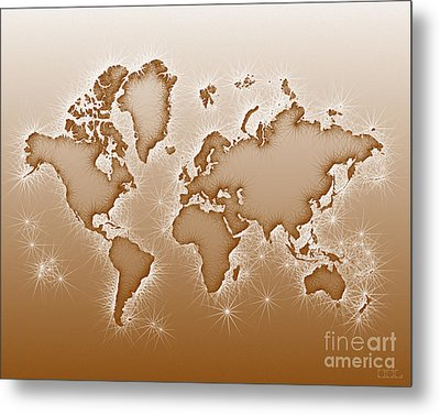 World Map Opala In Brown And White Metal Print