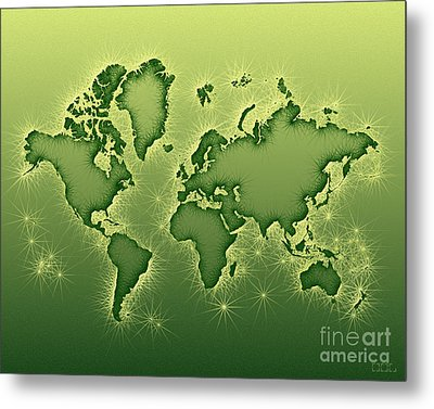 World Map Opala In Green And Yellow Metal Print by Eleven Corners