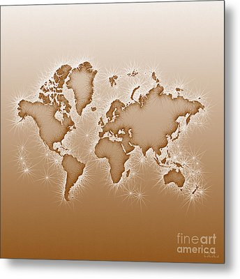 World Map Opala Square In Brown And White Metal Print