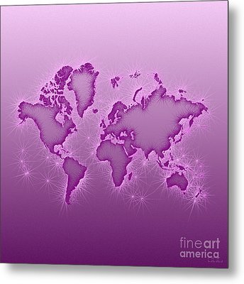 World Map Opala Square In Purple And Pink Metal Print