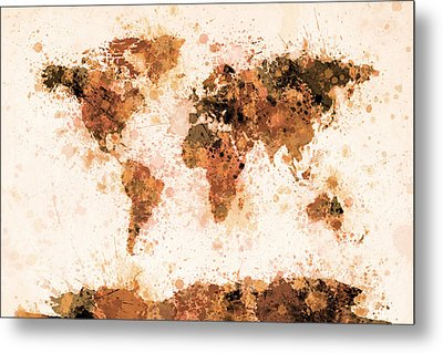 World Map Paint Splashes Bronze Metal Print by Michael Tompsett