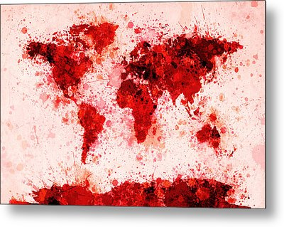 World Map Paint Splashes Red Metal Print by Michael Tompsett