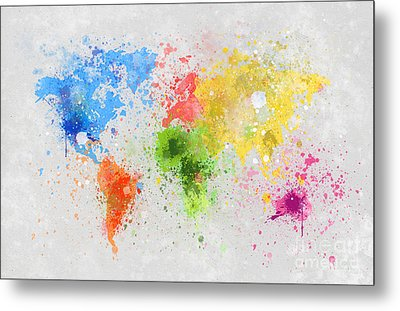 World Map Painting Metal Print by Setsiri Silapasuwanchai