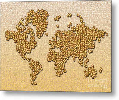 World Map Rolamento In Yellow And Brown Metal Print