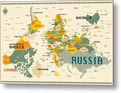 World Map Upside Down Metal Print by Jazzberry Blue