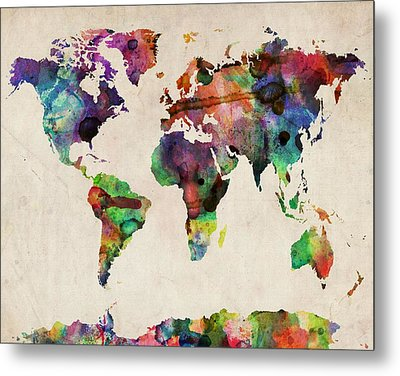 World Map Watercolor 16 X 20 Metal Print by Michael Tompsett