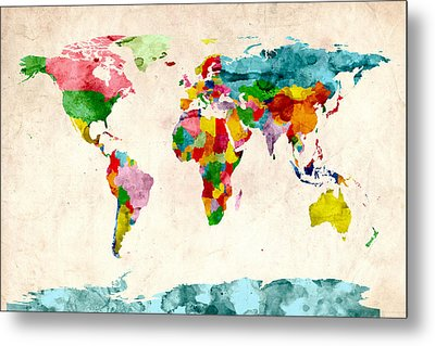 World Map Watercolors Metal Print by Michael Tompsett