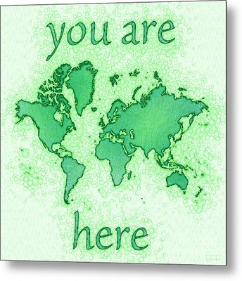 World Map You Are Here Airy In Green And White Metal Print by Eleven Corners