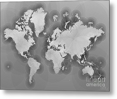 World Map Zona In Black And White Metal Print by Eleven Corners