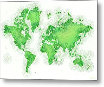 World Map Zona In Green And White Metal Print by Eleven Corners