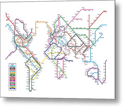 Metal Print featuring the digital art World Metro Map by Michael Tompsett