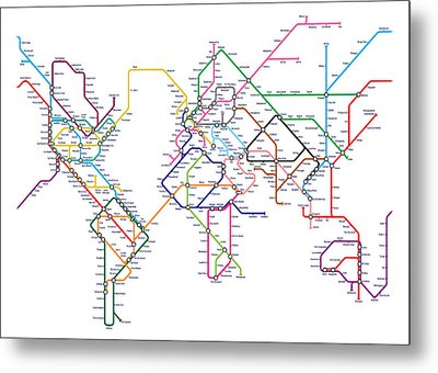 World Metro Tube Map Metal Print by Michael Tompsett
