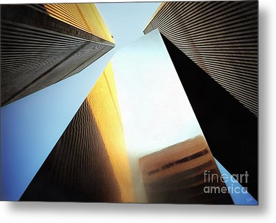 World Trade Center Towers And The Ideogram 1971-2001 Metal Print by Nishanth Gopinathan