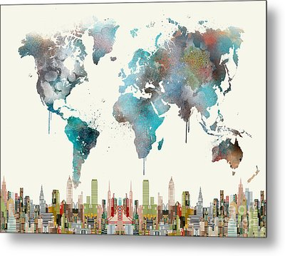 Metal Print featuring the painting World Travel Map by Bri B