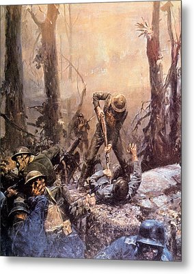 World War I, American Marines In The Metal Print