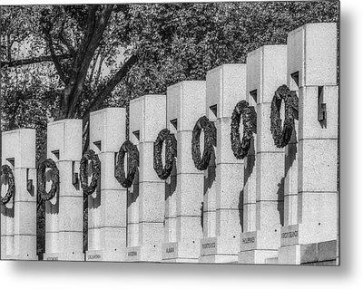 World War II Memorial Wreaths Bw Metal Print