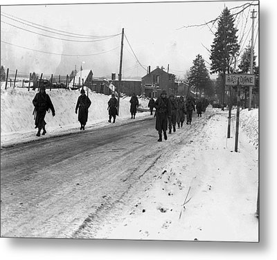 World War II. Us Army Infantrymen March Metal Print by Everett