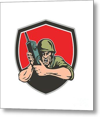 World War Two American Soldier Field Radio Shield Metal Print by Aloysius Patrimonio