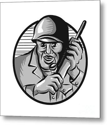 World War Two Soldier American Calling Radio Circle Etching Metal Print by Aloysius Patrimonio