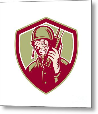 World War Two Soldier American Talk Radio Crest Metal Print by Aloysius Patrimonio