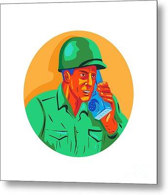 World War Two Soldier American Talk Radio Wpa Metal Print by Aloysius Patrimonio
