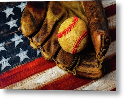 Worn Ball And Mitt Metal Print
