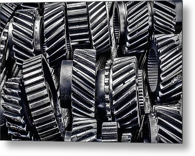Worn Graphic Gears Metal Print by Garry Gay