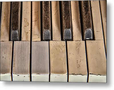Worn Piano Keys Metal Print