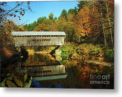 Worrall's Bridge Vermont - New England Fall Landscape Covered Bridge Metal Print by Jon Holiday