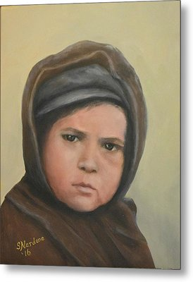 Worried Boy On Ellis Island Metal Print by Sandra Nardone