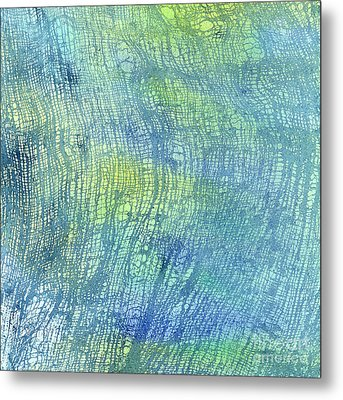 Woven Watercolor Texture Design Blue Gold Square 1 Metal Print by Sharon Freeman