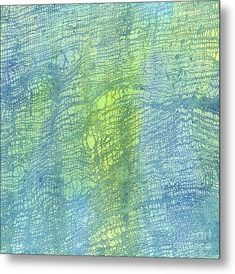Woven Watercolor Texture Design Blue Gold Square 2 Metal Print by Sharon Freeman