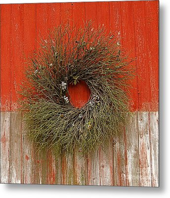 Metal Print featuring the photograph Wreath On The Barn by Nicola Fiscarelli