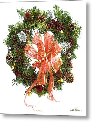 Wreath With Bow Metal Print by Lise Winne