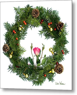 Wreath With Rose Metal Print by Lise Winne