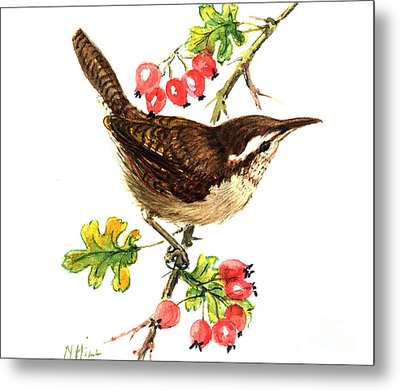 Wren And Rosehips Metal Print by Nell Hill