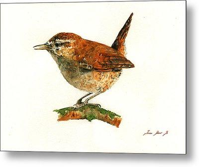 Wren Bird Art Painting Metal Print