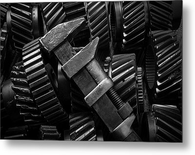 Wrench On Gears Metal Print