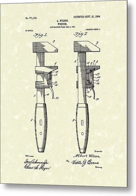 Wrench Wilson 1904 Patent Art Metal Print by Prior Art Design