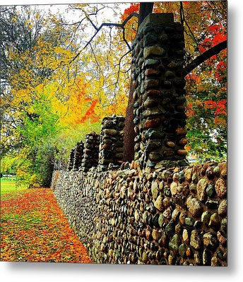 Wright Park Stone Wall In Fall Metal Print