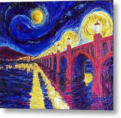 Wrightsville Bridge At Night Metal Print