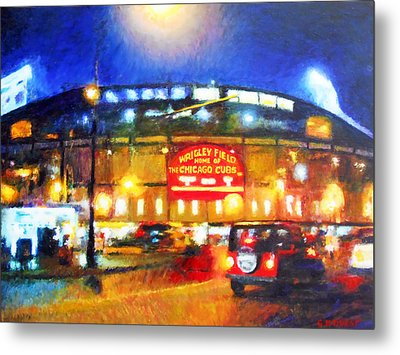 Wrigley Field Home Of Chicago Cubs Metal Print by Michael Durst