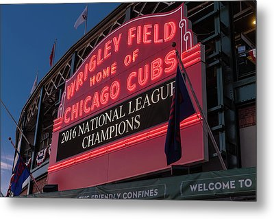 Wrigley Field Marquee Cubs National League Champs 2016 Metal Print