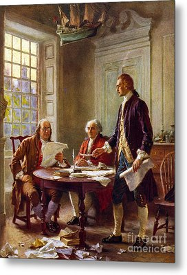 Writing The Declaration Of Independence, 1776, Metal Print by Leon Gerome Ferris