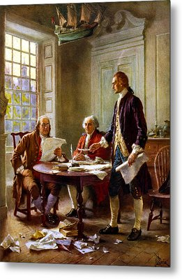Writing The Declaration Of Independence Metal Print by War Is Hell Store